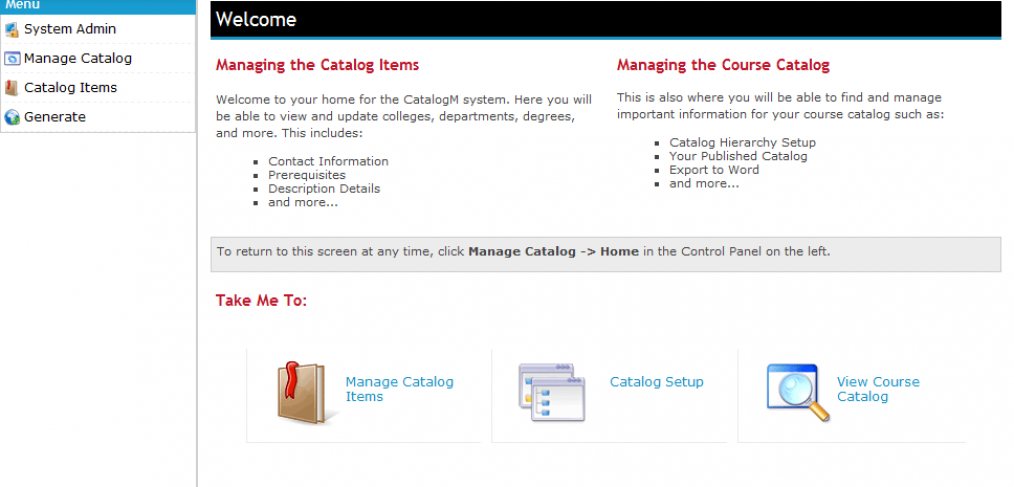 CatalogM Admin Screen