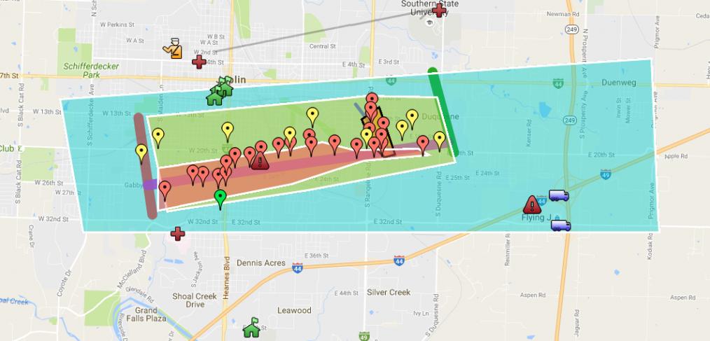 Joplin Tornado Track Map