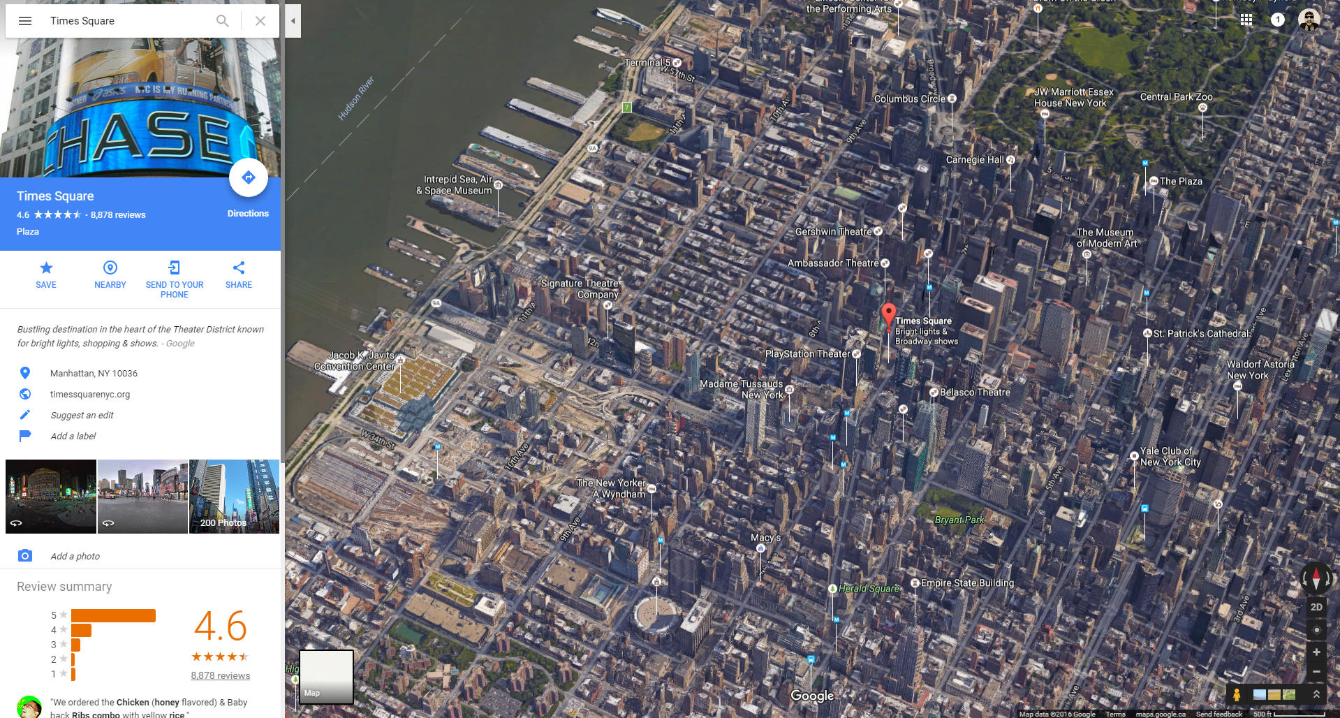 google map of times square